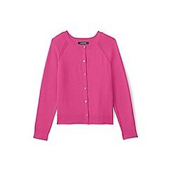 Lands' End - Girls' pink crew neck sophie cardigan