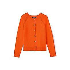 Lands' End - Girls' orange crew neck sophie cardigan