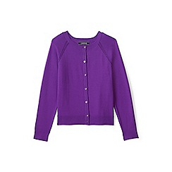 Lands' End - Girls' purple crew neck sophie cardigan