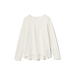 Lands' End - Girls' cream plain long sleeve jersey tee