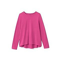 Lands' End - Girls' pink plain long sleeve jersey tee