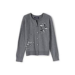 Lands' End - Girls' grey embellished crew neck sophie cardigan