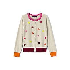 Lands' End - Girls' multicoloured embellished crew neck sophie cardigan