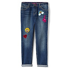 Lands' End - Girls' blue 5-pocket girlfriend jeans