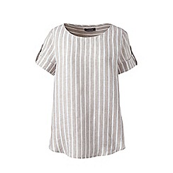 Lands_End_Women - Beige plus stripe linen summer top