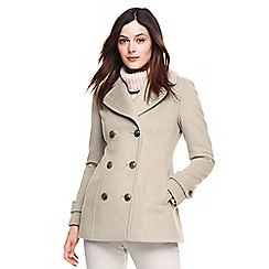 Lands' End - Cream wool blend peacoat