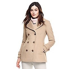 Lands' End - Beige wool blend peacoat