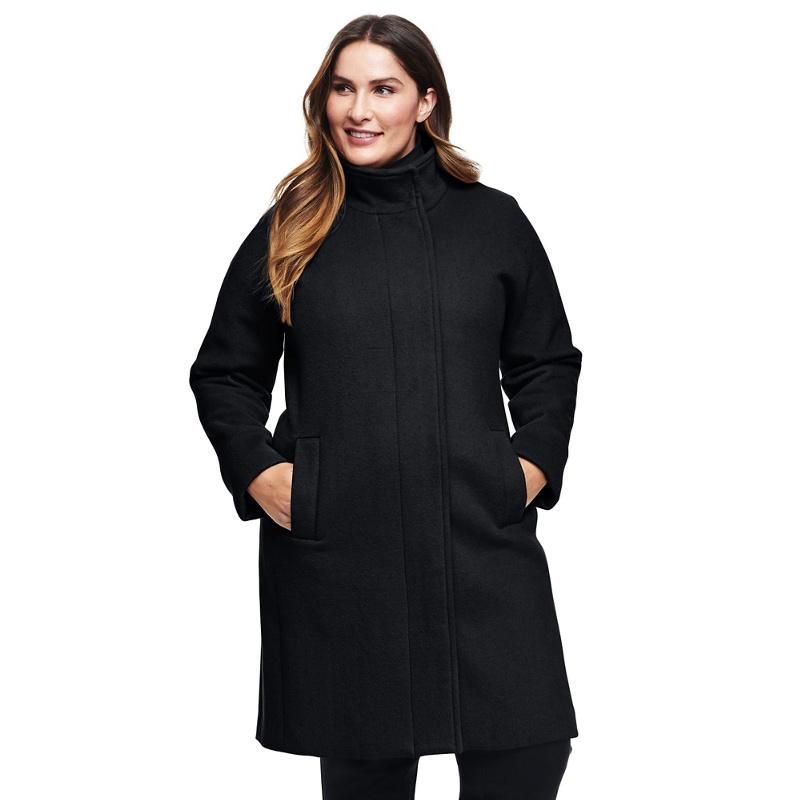 4ce448fb34d8f Lands  End - Black Plus Wool Blend Coat