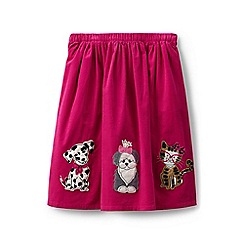 Lands' End - Girls' pink applique cord skirt