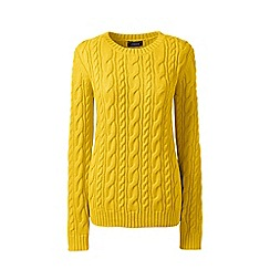 Lands' End - Yellow petite drifter cable crew neck jumper