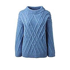Lands' End - Blue petite textured wool blend jumper