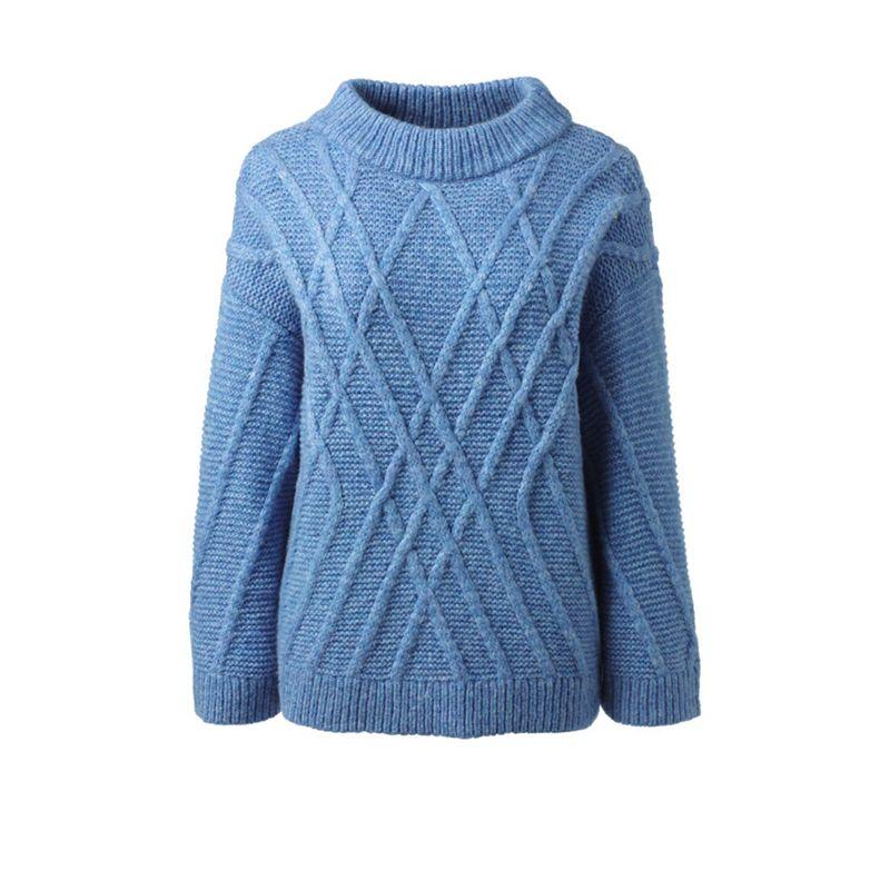 Lands End Blue petite textured wool blend jumper