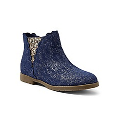 Lands' End - Navy regular scalloped ankle boots