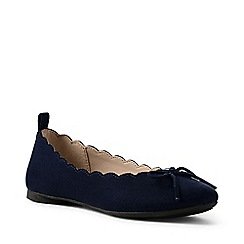 Lands' End - Navy regular scalloped ballet pumps