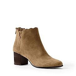 Lands' End - Brown regular scalloped ankle boots