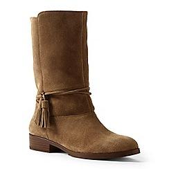 Lands' End - Beige regular slouchy suede boots