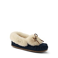 Lands' End - Blue shearling moccasin slippers