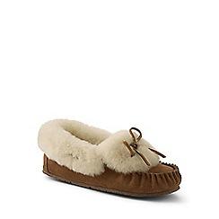 Lands' End - Beige shearling moccasin slippers