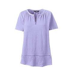 Lands_End_Women - Purple petite short sleeves eyelet trim linen top