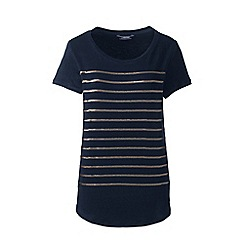 Lands' End - Blue sequin stripe linen jersey top