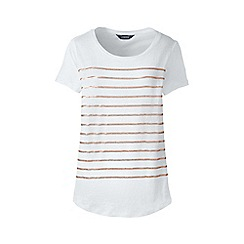 Lands' End - White sequin stripe linen jersey top