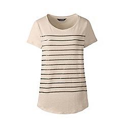 Lands' End - Yellow sequin stripe linen jersey top