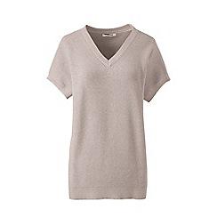 Lands' End - Beige petite combed cotton dolman v-neck jumper