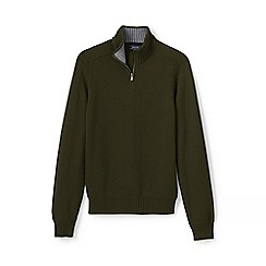 Lands' End - Green drifter zip neck cotton jumper