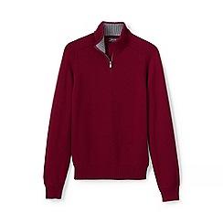 Lands' End - Red drifter zip neck cotton jumper