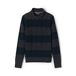 Lands' End - Green cable stripe fisherman jumper