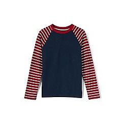 Lands' End - Boys' red stripe sleeve raglan tee