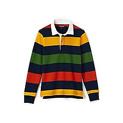 Lands' End - Boys' grey striped rugby shirt