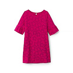 Lands' End - Girls' pink bell sleeve pattern ponte dress