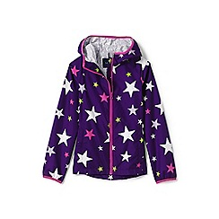 Lands' End - Girls' purple printed waterproof breakwater rain jacket