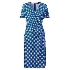 Lands' End - Petite multi ponte jersey dot wrap dress