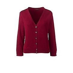 Lands' End - Red supima 3-quarter sleeves dress cardigan