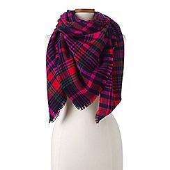 Lands' End - Red herringbone plaid scarf