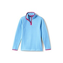 Lands' End - Girls' blue thermacheck-100 fleece half-zip pullover