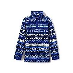 Lands' End - Boys' blue toddler printed half-zip fleece top