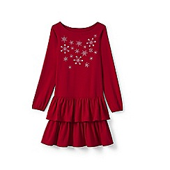 Lands' End - Girls' red embellished tiered ruffle dress