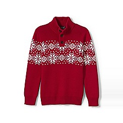 Lands' End - Boys' red snowflake button-neck cotton jumper