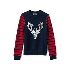 Lands' End - Boys' blue deer pattern cotton jumper