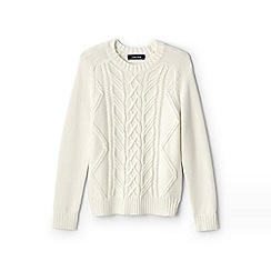 Lands' End - Boys' white drifter cable jumper
