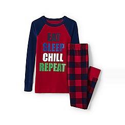 Lands' End - Boys' red snug fit graphic pyjamas