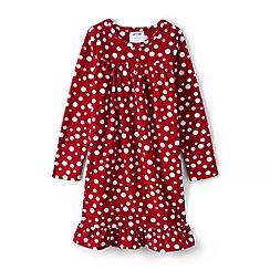 Lands' End - Girls' red ruffle hem printed night dress