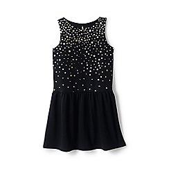 Lands' End - Girls' black drop waist ponte jersey dress