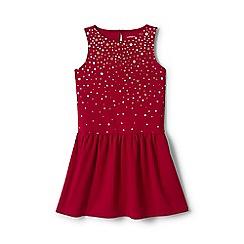 Lands' End - Girls' red drop waist ponte jersey dress