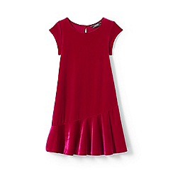 Lands' End - Girls' red cap sleeve velveteen dress