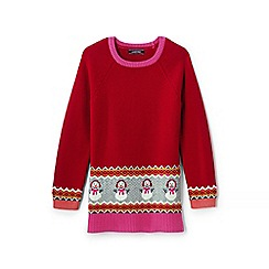 Lands' End - Girls' red tunic-length snowman jumper
