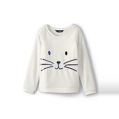 Lands' End - Girls' white cosy fleece sweatshirt